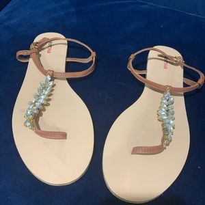 Brown jeweled sandals